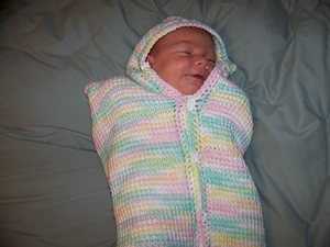 Crocheted Baby Cocoon. Click here for a larger image.